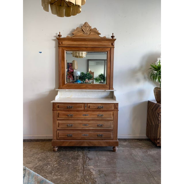 Late 19th Century Victorian Marble Top Chest Of Drawers With Mirror For Sale - Image 10 of 10