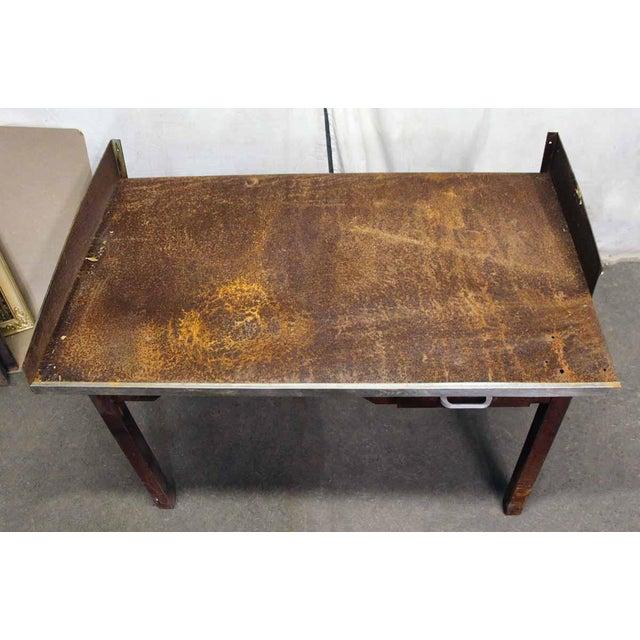 Rusted Metal Industrial Desk - Image 6 of 9