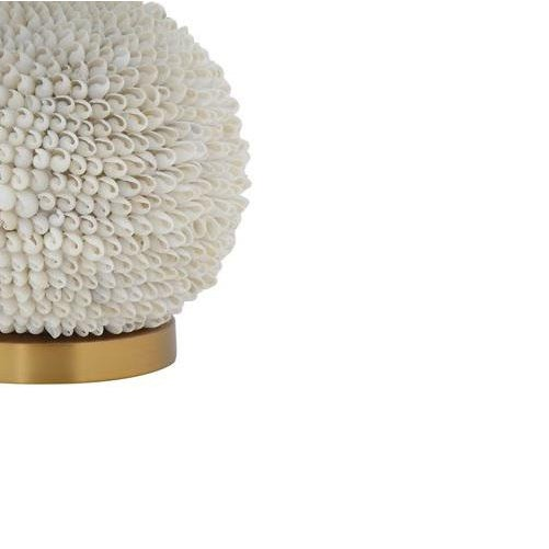 "Natural Shell Table Lamp w/ Natural Linen Shade (100 Watt Bulb Maximum) 14"" Round x 22""H"