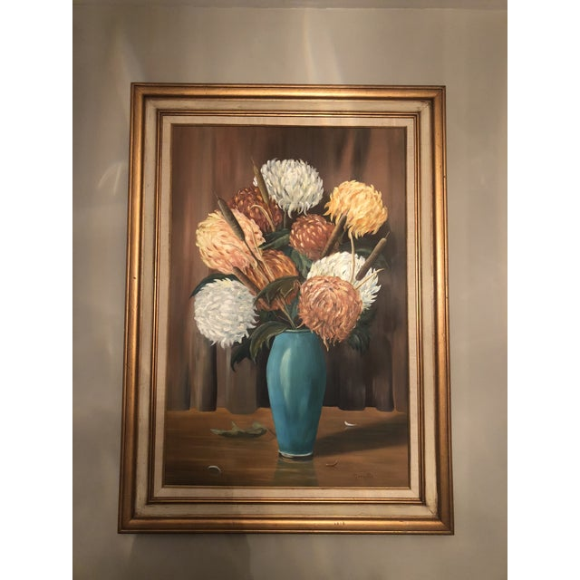 Traditional Original Oil on Canvas Floral Painting For Sale - Image 3 of 3