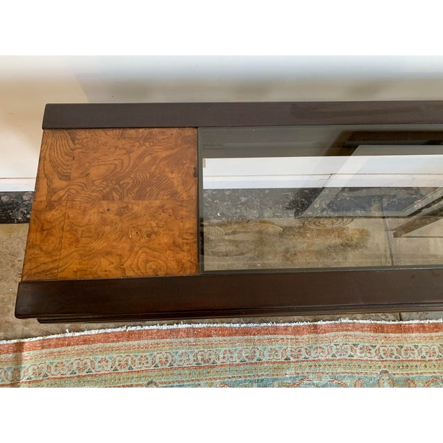 1970s 1970s Mixed Wood and Glass Sofa Console Table For Sale - Image 5 of 6