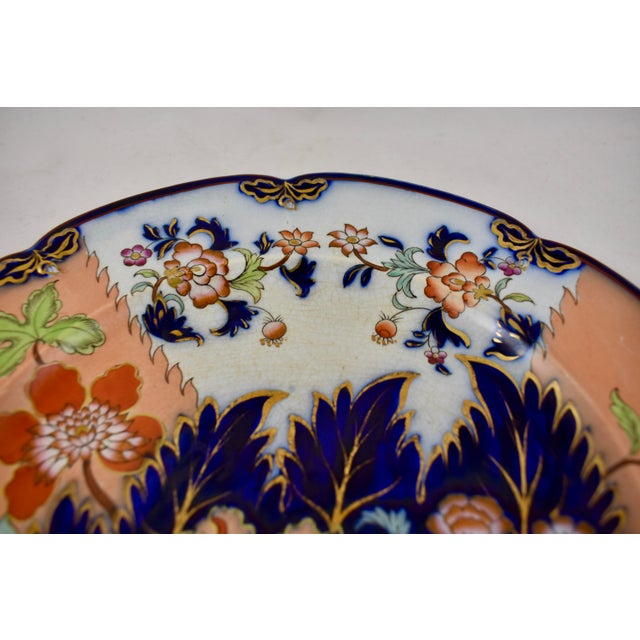 White Mid 19th C. John Ridgway English Chinoiserie Style Imari Floral Plates, S/8 For Sale - Image 8 of 13