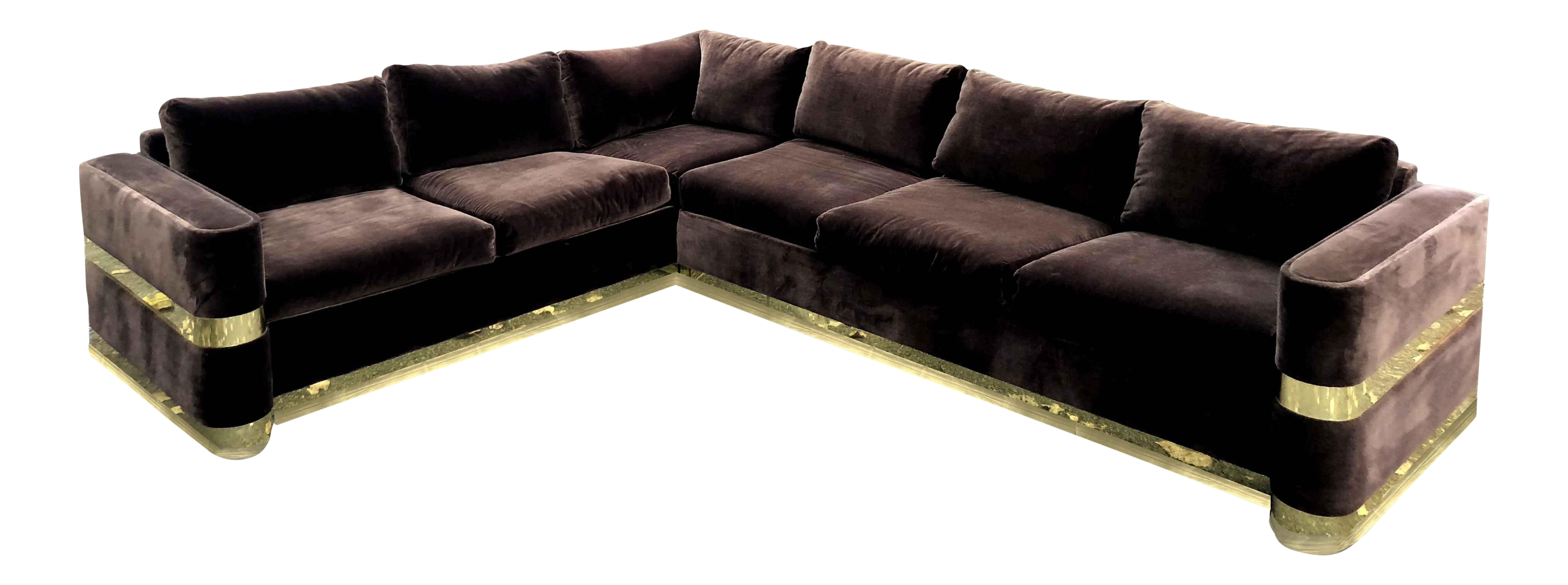 Chrome And Brown Velvet L Shape Sofa