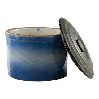 Early American Stoneware Lidded Blue Crock For Sale