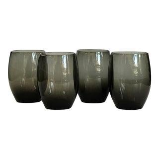 Dark Grey Oval Glasses, Set of 4