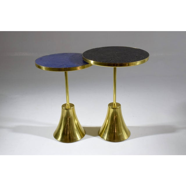 Modern Zel-II-I Contemporary Brass Mosaic Side Table, Flow Collection For Sale - Image 3 of 10