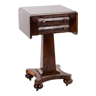 18th Century Empire Mahogany Drop Leaf Occasional Side Table For Sale