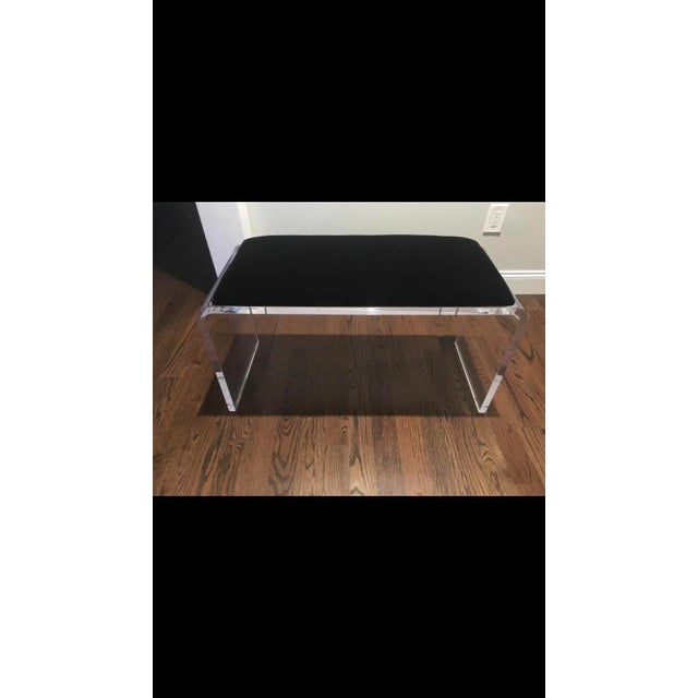 Contemporary Scout Acrylic and Black Velvet Bench For Sale - Image 3 of 3