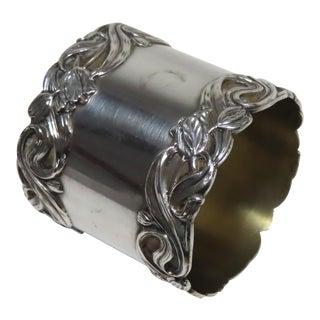 Oversize Antique Art Nouveau Sterling Silver Napkin Ring For Sale