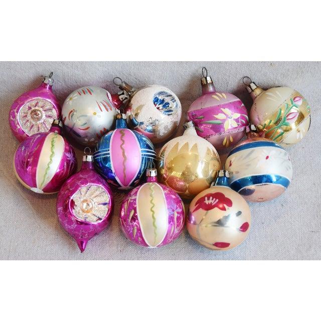 Blue Midcentury Vintage Colorful Christmas Tree Ornaments W/Box - Set of 12 For Sale - Image 8 of 9
