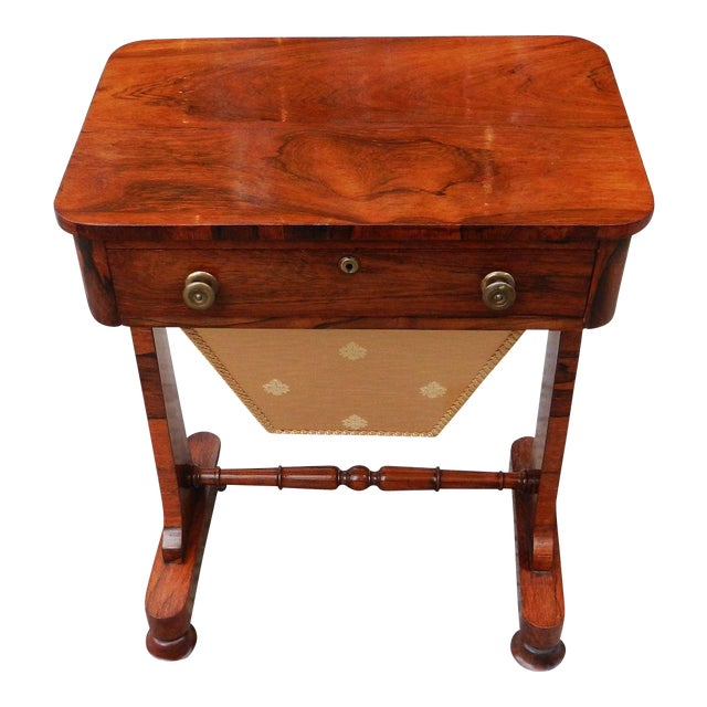 19th Century Antique English Rosewood Regency Basket Sewing Table For Sale