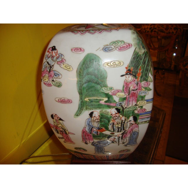 Chinese Export Porcelain Painted Ginger Jar Table Lamps- A Pair - Image 3 of 10