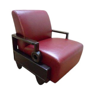 Mid Century Oriental Style Rosewood Leather Living Room Lounge Chair For Sale