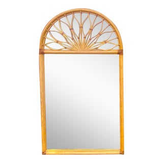 Monumental Coastal Vintage Arched Rattan Mirror For Sale