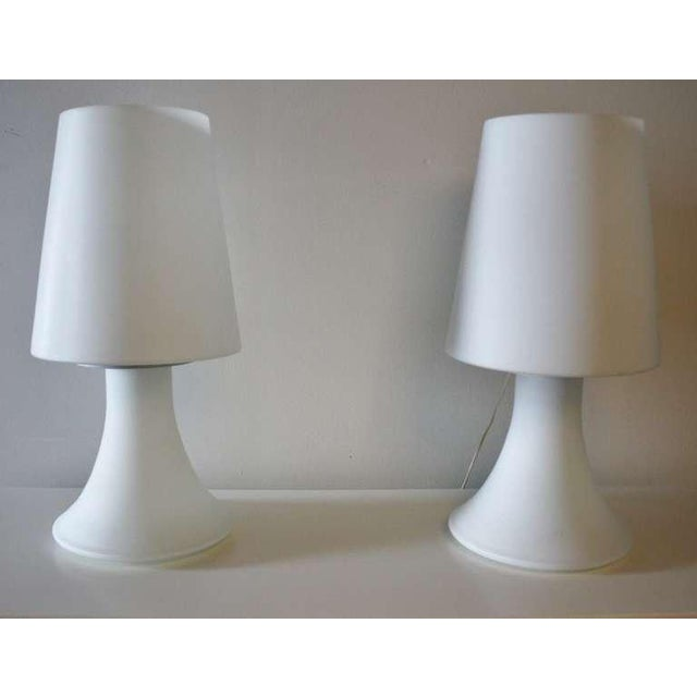 Modern Pair of Italian White Glass Lamps and Shades by Laurel For Sale - Image 3 of 7