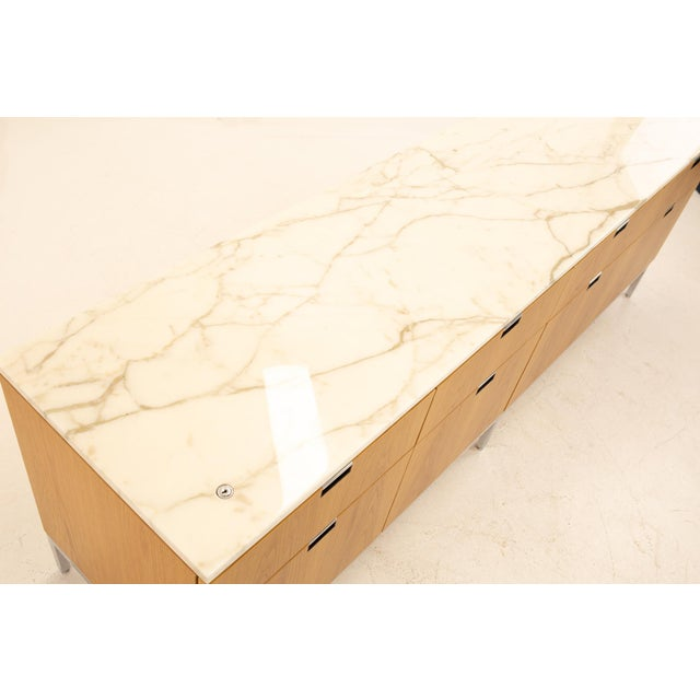 Wood Florence Knoll Mid Century Modern White Marble Top Sideboard Credenza For Sale - Image 7 of 11
