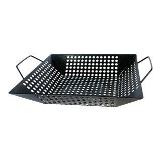 1980s Modernist Industrial Modern Black Perforated Steel Fruit Basket For Sale