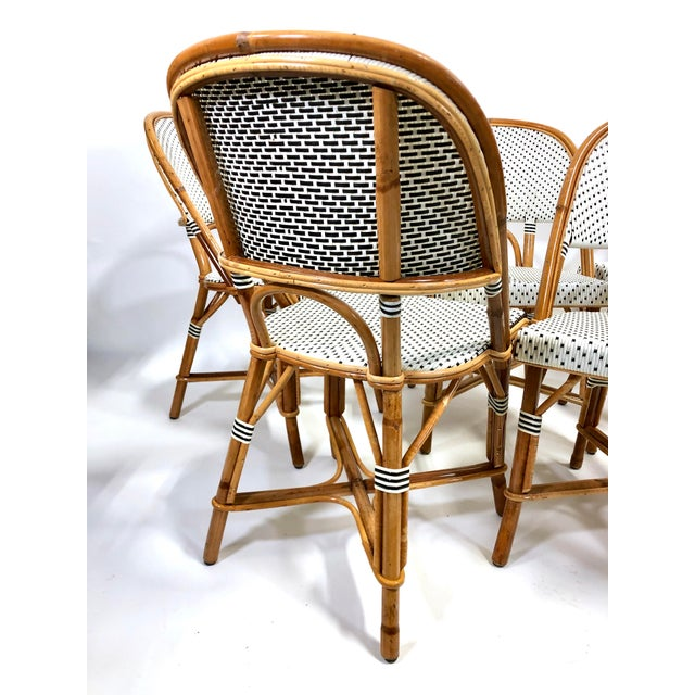 Maillot French Bistro Woven Bamboo Rattan Chairs—Set of 5 For Sale In New York - Image 6 of 13