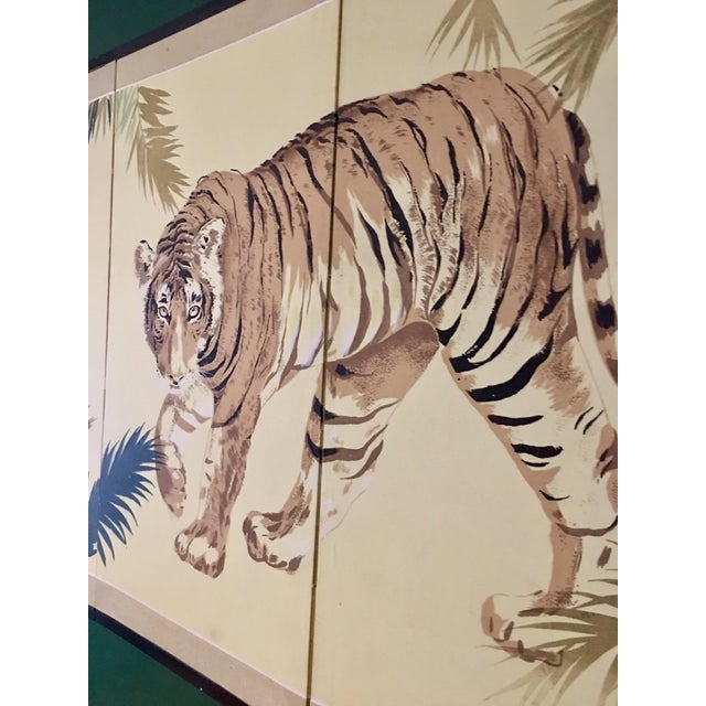 Art Deco 1940's Tiger & Foliage Panel Painting on Silk - Image 5 of 7