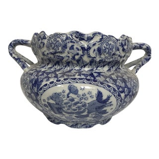 Chinese Import Blue and White Porcelain Bowl With Handles For Sale