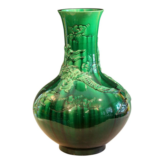 "Antique Japanese Awaji Pottery Green Dragon Vase 25"" For Sale"