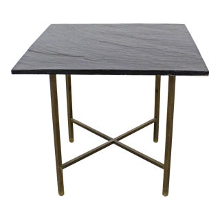 Mid-Century Modern Paul McCobb Style Brass X-Base Slate Top Side Table For Sale