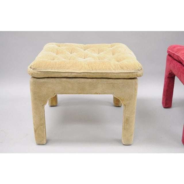 Vintage Hollywood Regency Parson Pink & Beige Stools Upholstered Bench Ottoman - a Pair - Image 7 of 11
