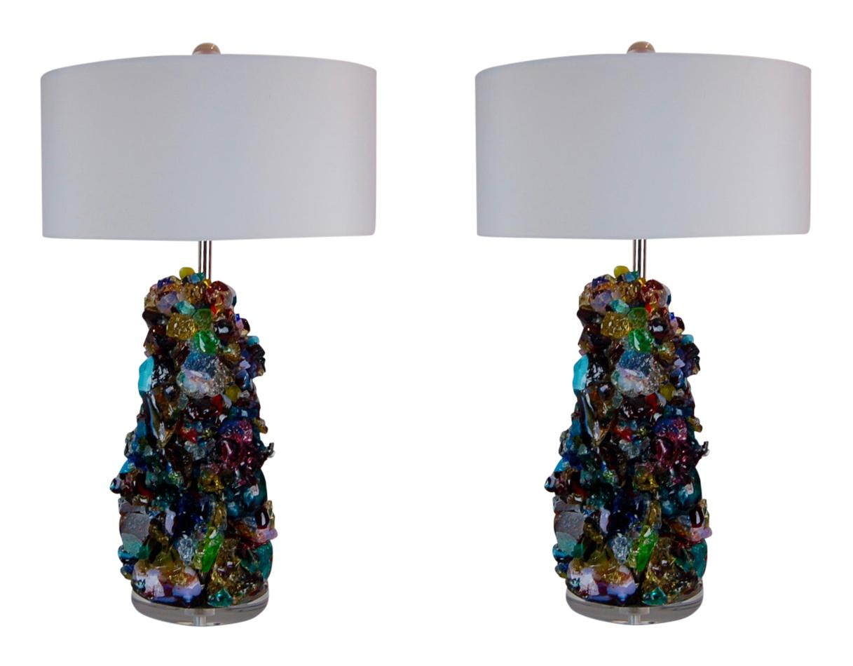 Superior Glass Rock Table Lamps By Swank Lighting Multicolor Decaso