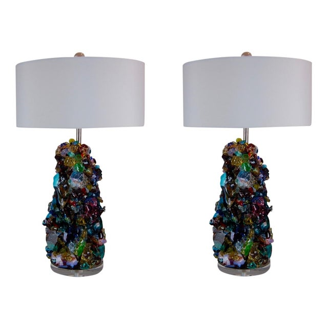 Glass Rock Table Lamps by Swank Lighting Multicolor For Sale - Image 11 of 11