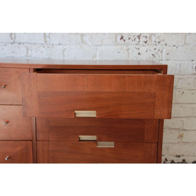 1960s Merton Gershun for American of Martinsville Mid-Century Modern Walnut Long Dresser or Credenza For Sale - Image 5 of 11