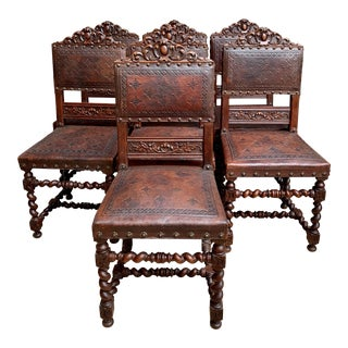 Set 7 Antique English Carved Oak Dining Chairs Barley Twist Embossed Leather For Sale