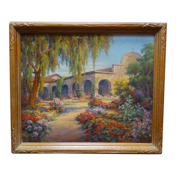 Early 20th Century Antique Marius Smith Mission Floral Landscape Painting For Sale