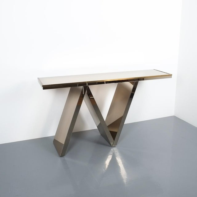 """Mirror zig zag mirror brass console table Italy, circa 1970. One of a kind 58"""" wide console table covered in slightly..."""