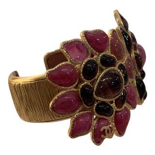 Vintage Chanel Floral Cuff Bracelet For Sale