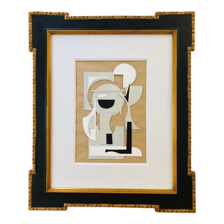 Abstract Mixed Media Collage in Vintage Gilt and Ebony Frame For Sale