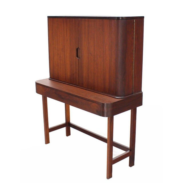 Rosewood Art Deco Open Up Vanity with Light and Matching bench For Sale - Image 9 of 10
