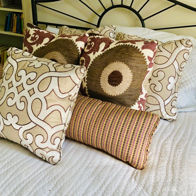 """Scalamandre Damascus Embroidery Square 18"""" Pillows (3 Available) For Sale - Image 12 of 13"""