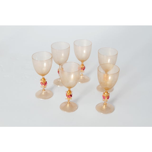 Murano Amber Glass Wine Goblets From Italy For Sale - Image 12 of 13