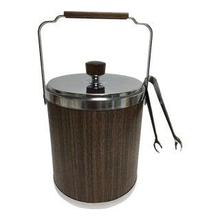 Mid-Century Kromex Wood Grain Ice Bucket