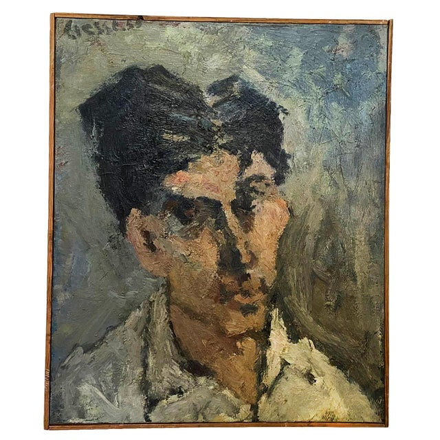 1950s 20th Century Small Self-Portrait Painting by Daniel Clesse For Sale - Image 5 of 5