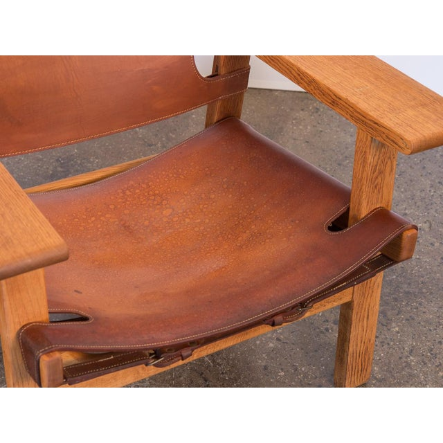 Animal Skin Pair of Borge Mogensen Spanish Chairs for Fredericia Stolefabrik For Sale - Image 7 of 13