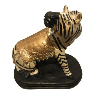 Zebra Figurine With Gold Saddle