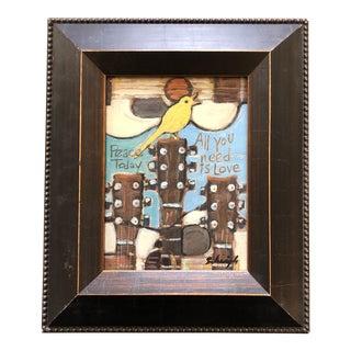 "Original Contemporary Stephen Heigh Modernist Painting "" Guitar Song Bird"" For Sale"
