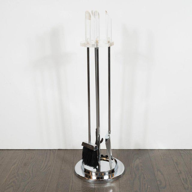 1970s Mid-Century Modern Four-Piece Lucite and Chrome Fire Tool Set For Sale - Image 5 of 10