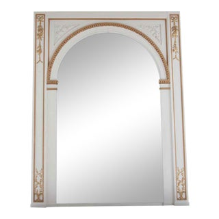 Waldorf Astoria White Ovemantel Mirror With Carved Gold Detail For Sale