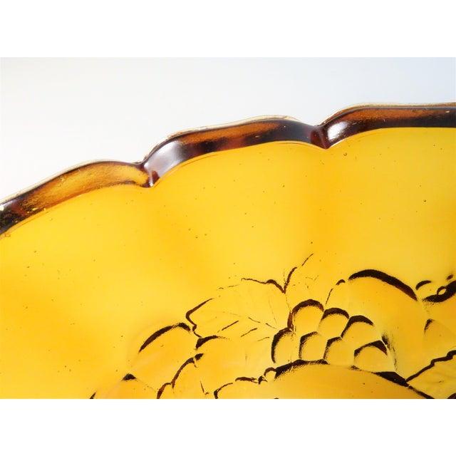 Vintage Amber Pressed Glass Bowl For Sale - Image 4 of 11