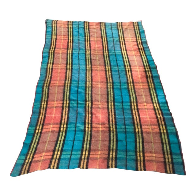 Mid-Century Plaid Whip Stitched Camp Blanket - Image 1 of 6