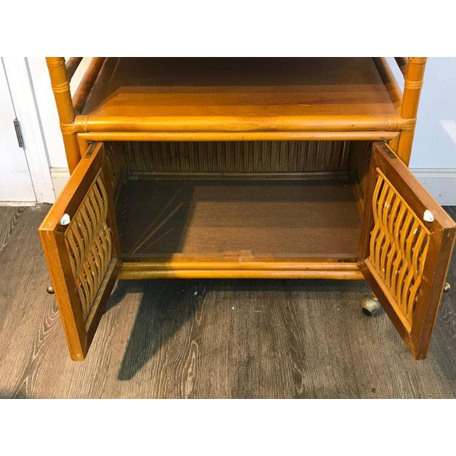 Metal Midcentury Rattan Expandable Bar Cart For Sale - Image 7 of 13