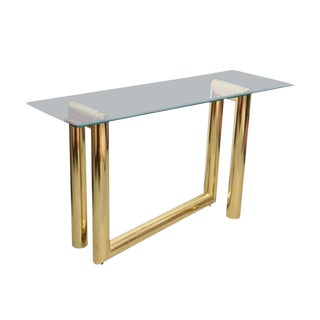 1970s Karl Springer Abstract Brass Console Table