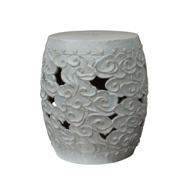 Asian Ceramic Clay Off White Glaze Round Scroll Pattern Garden Stool For Sale - Image 3 of 8